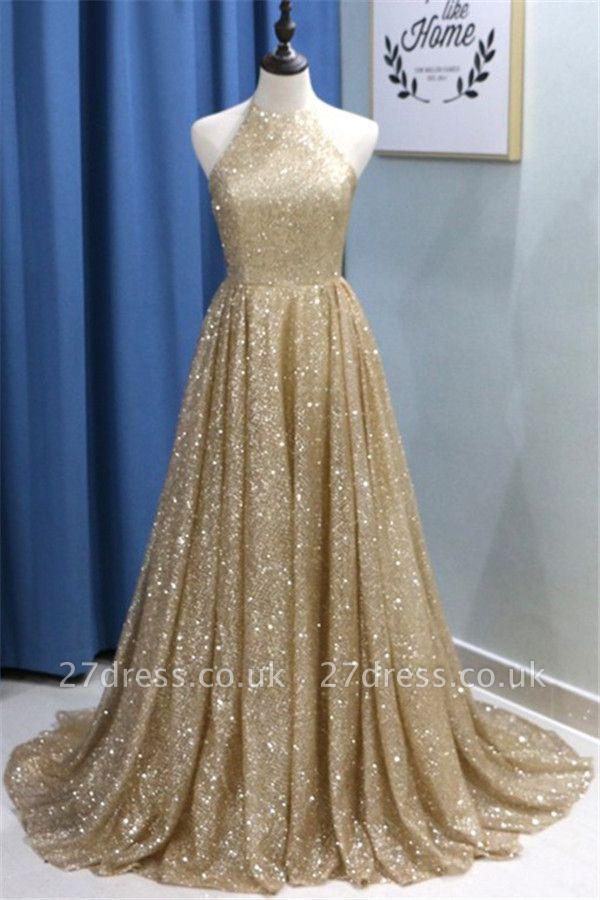 Sexy Sequins Ruffles Halter Prom Dress UKes UK Sleeveless Elegant Evening Dress UKes UK with Beads