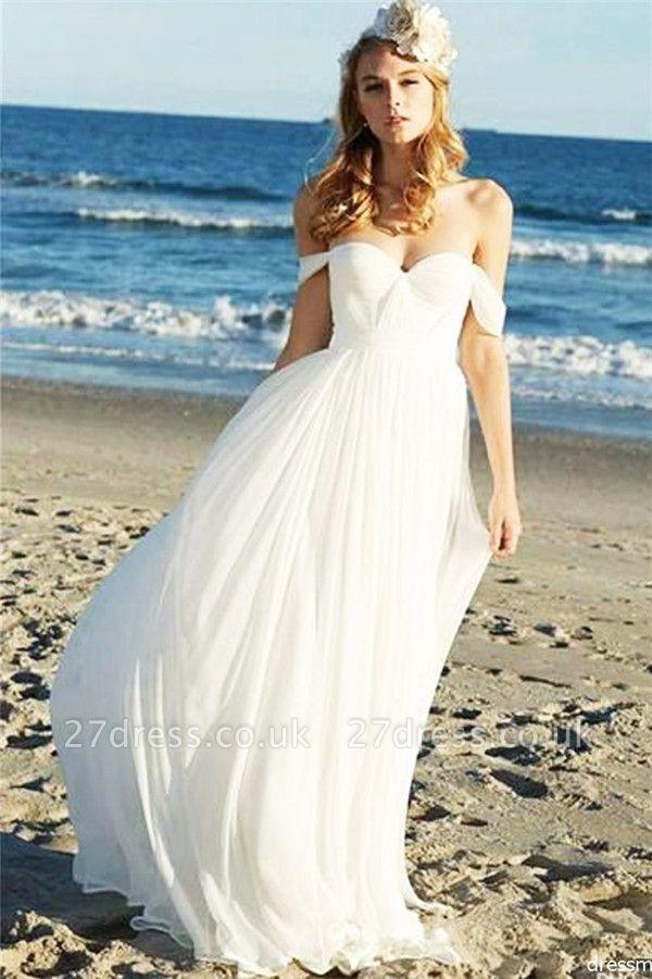 Elegant Off-the-Shoulder Wedding Dresses UK   Sheer Ruffles Sleeveless Floral Bridal Gowns