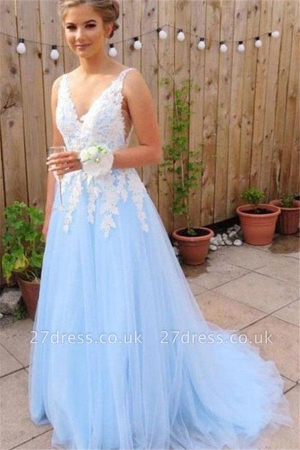 Sexy Elegant V-Neck Lace Appliques Open Back Prom Dress UKes UK Tulle Sexy Sleeveless Evening Dress UKes UK