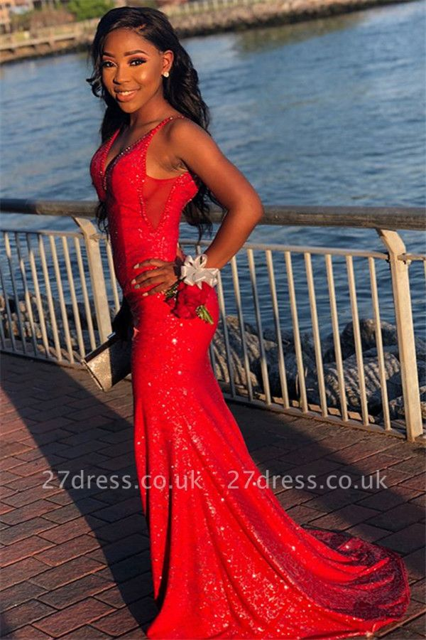 Sexy Red Sequins Elegant Trumpt Spaghetti-Straps Long Prom Dress UKes UK UK