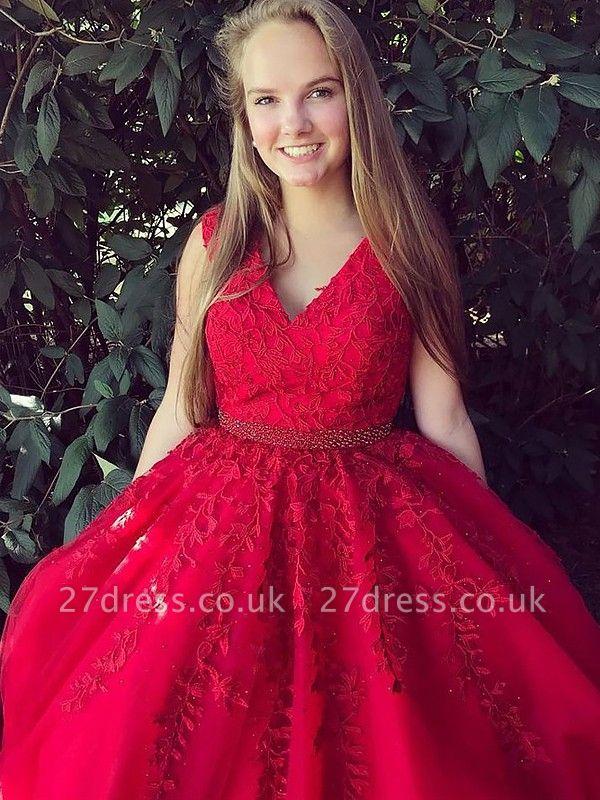 Fashion Red Elegant V-Neck Lace Appliques Prom Dress UKes UK Sleeveless Evening Dress UKes UK with Beads