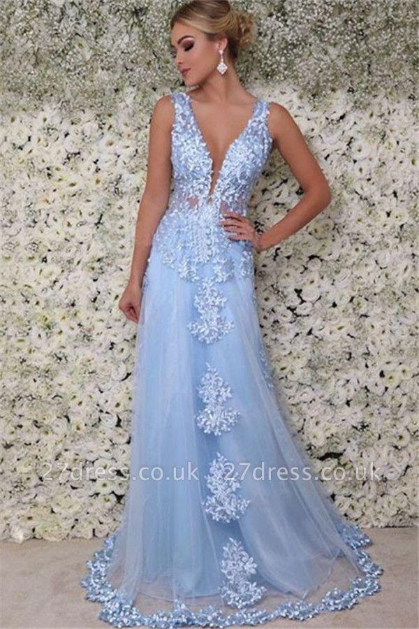 Sexy Elegant V-Neck  Sleeveless Applique Prom Dress UKes UK Tulle Sexy Elegant Evening Dress UKes UK with Beads