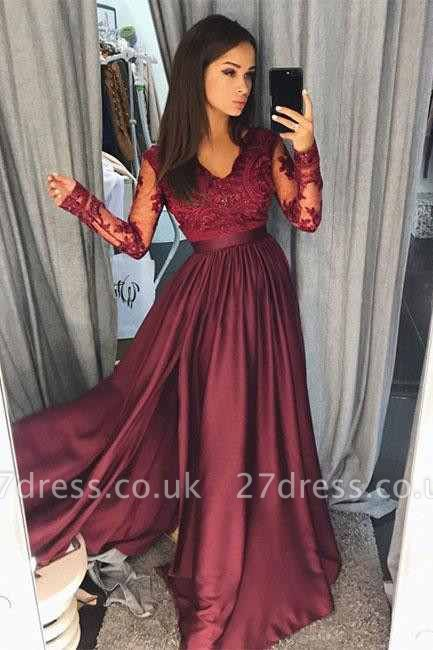Maroon Burgundy Long Sleeve Prom Dress UK Lace With Split