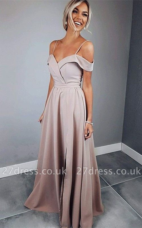 Sexy Spaghetti Strap Prom Dress UKes UK Sleeveless Side Slit Elegant Evening Dress UKes UK Sexy