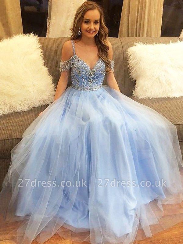 Fashion Spaghetti strap Lace Appliques Crystal Prom Dress UKes UK Sleeveless Evening Dress UKes UK with Beads