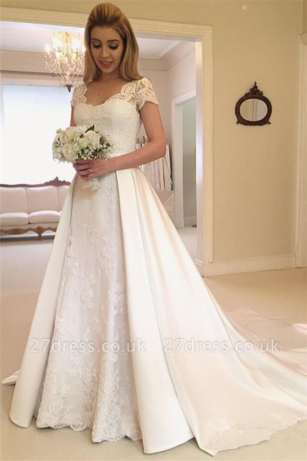 Applique Cap Straps Wedding Dresses UK Overskirt Jewel Floral Bridal Gowns