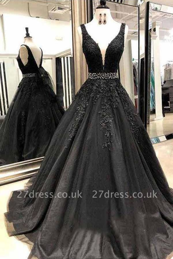 Black Lace Appliques Crystal Prom Dress UKes UK Straps Sexy Sleeveless Evening Dress UKes UK