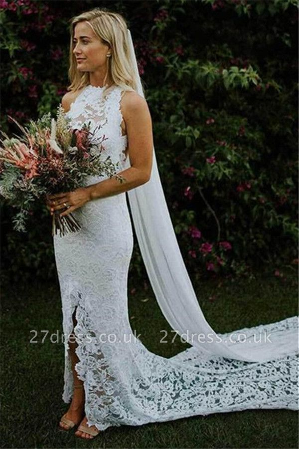 Appliques Halter Backless  Sexy Mermaid Wedding Dresses UK | Ribbons Side slit Sleeveless Floral Bridal Gowns