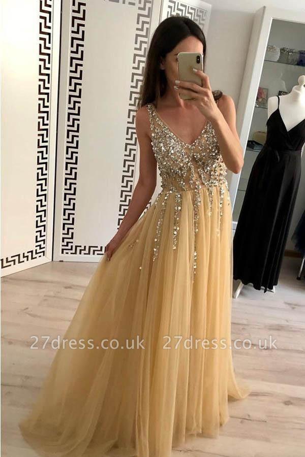 Sexy Lace Appliques Elegant V-Neck Crystal Prom Dress UKes UK Backless Sleeveless Evening Dress UKes UK