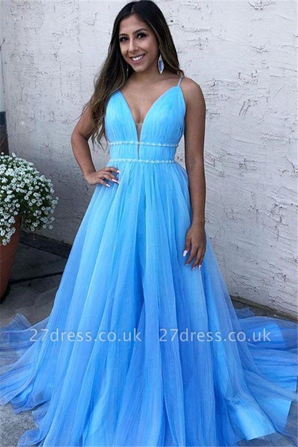 Sky Blue Spaghetti-Straps A-Line Tulle without Sleeve Prom Dress UK UK