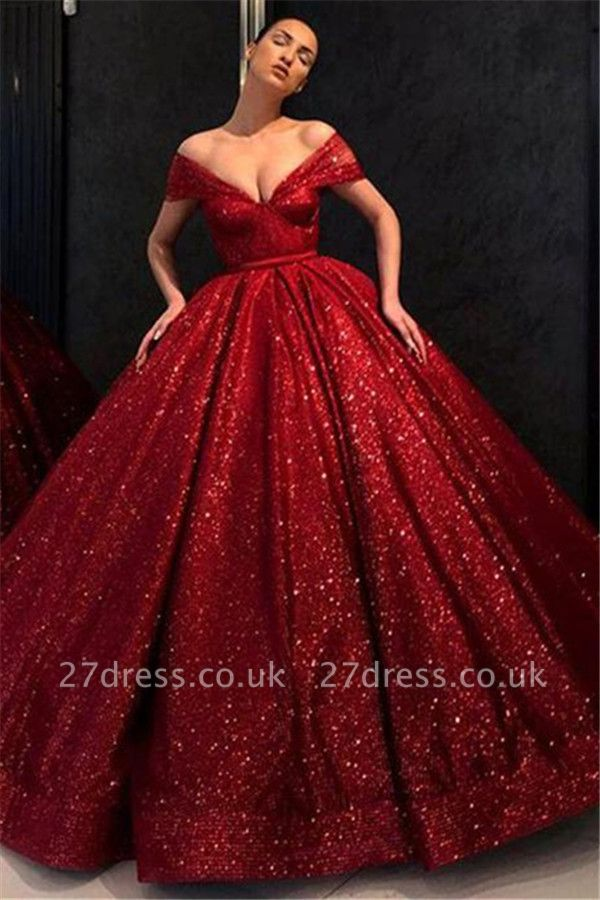 Sequins Off-the-Shoulder Lace Appliques Prom Dress UKes UK Ball Gown Sleeveless Evening Dress UKes UK