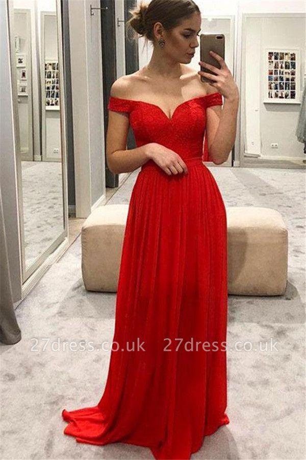 Red Off-the-Shoulder Lace Prom Dress UKes UK Sexy Sleeveless Evening Dress UKes UK