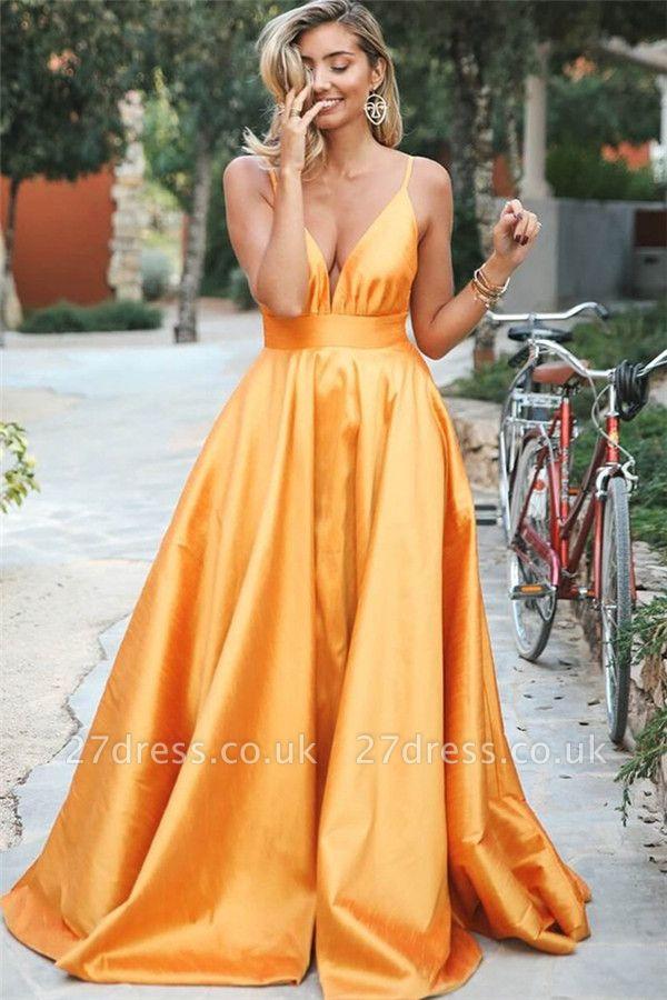 Simple Orange Spaghetti-Straps without Sleeve Alluring V-Neck A-Line Prom Dress UK UK