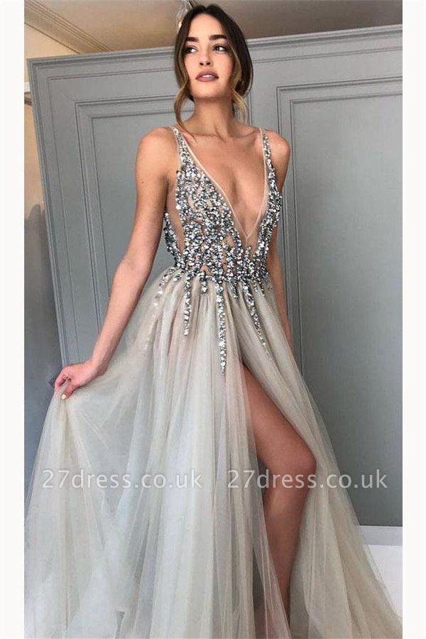 Sexy Crystal Elegant V-Neck Prom Dress UKes UK Side slit Sheer Sleeveless Evening Dress UKes UK
