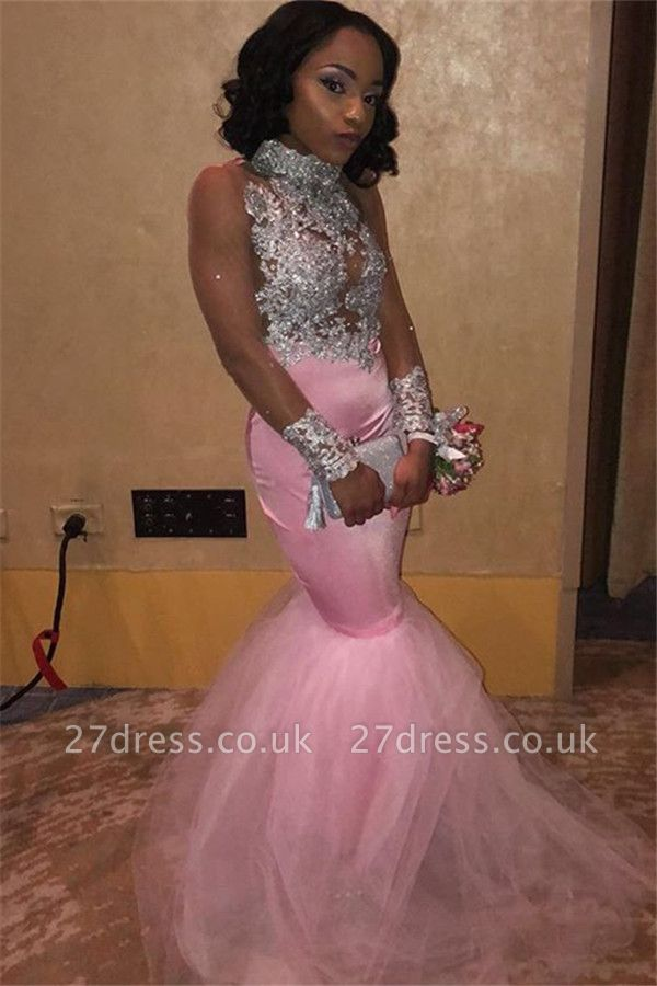 Sexy Pink High-Neck without Sleeve Lace Appliques Tulle Elegant Mermaid Prom Dress UK UK
