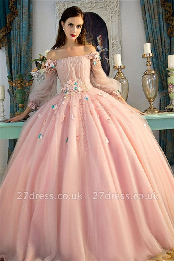 Sexy Flower Off-The-Shoulder Lace Appliques Prom Dress UKes UK Lace-Up Ball Gown Longsleeves Evening Dress UKes UK
