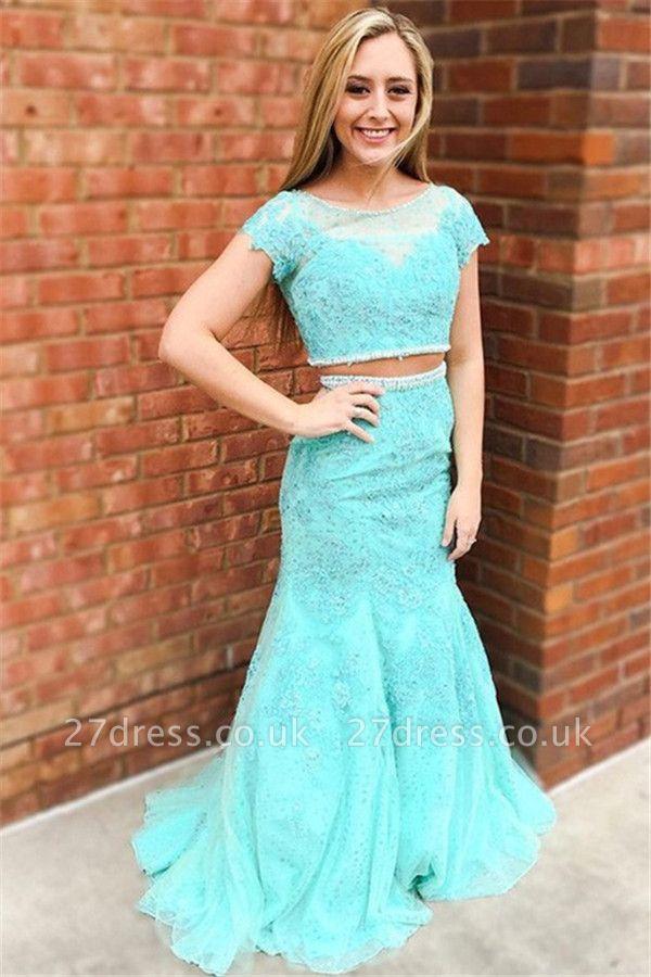 Sexy Jewel Lace Appliques Two Piece Prom Dress UKes UK Mermaid Sleeveless Evening Dress UKes UK