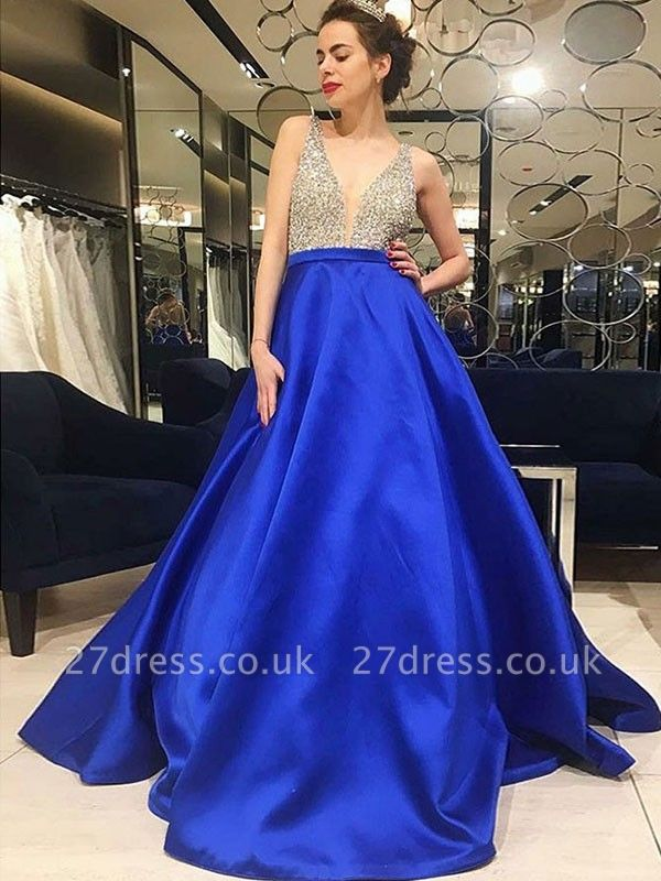 Sexy Elegant V-Neck Crystal Prom Dress UKes UK Sleeveless Popular Elegant Evening Dress UKes UK Sexy