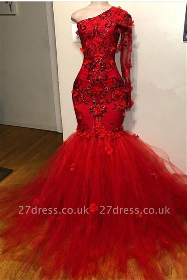 Simple Red Asymmetric with Sleeves Lace Appliques Elegant Mermaid Prom Dress UK UK