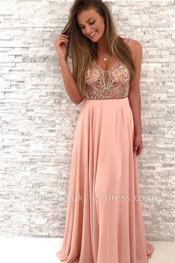 Sequin Straps Lace Appliques Prom Dress UKes UK Sexy Sleeveless Evening Dress UKes UK