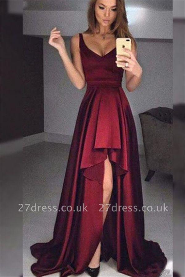 Burgundy Elegant V-Neck Ruffles Prom Dress UKes UK Hi-Lo Sleeveless Elegant Evening Dress UKes UK Sexy