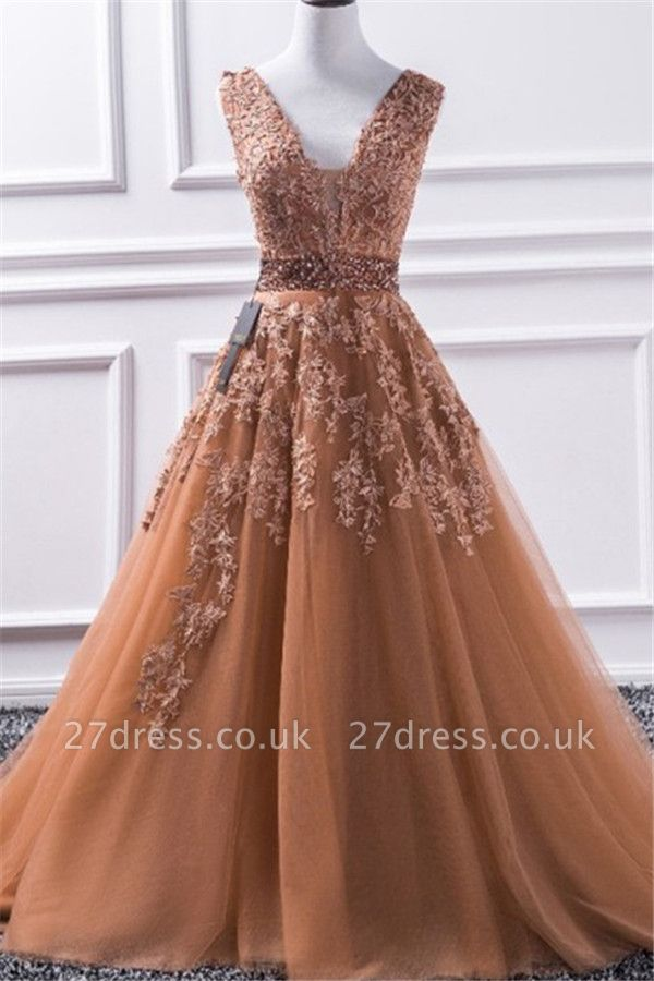 Sexy Elegant V-Neck Applique Crystal Prom Dress UKes UK Sleeveless Tulle Elegant Evening Dress UKes UK Sexy