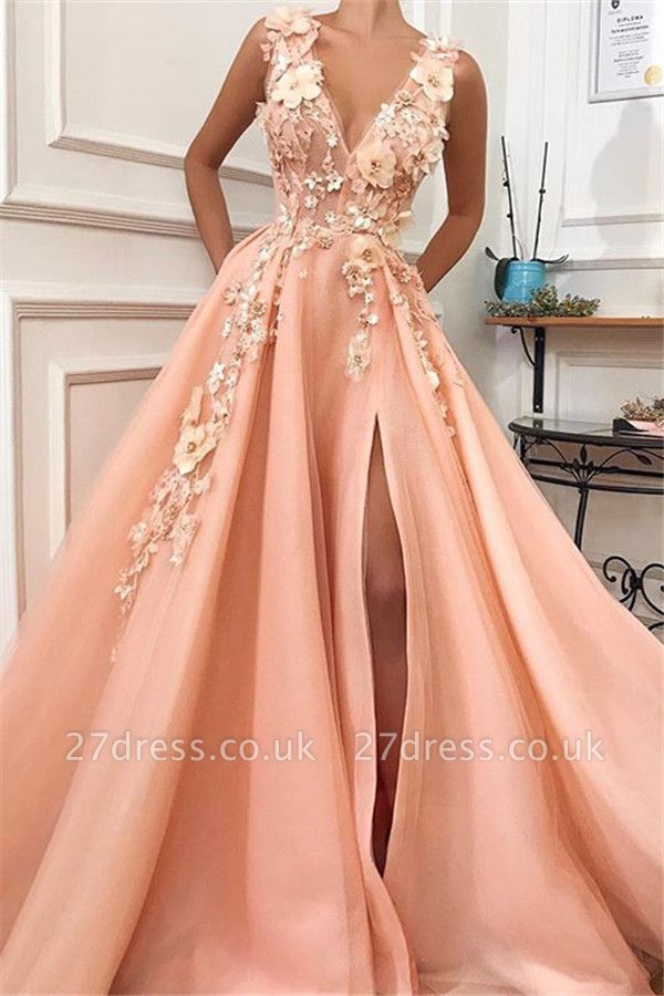 Amazing Straps Alluring V-Neck Flower Lace Appliques A-Line Prom Dress UK UK
