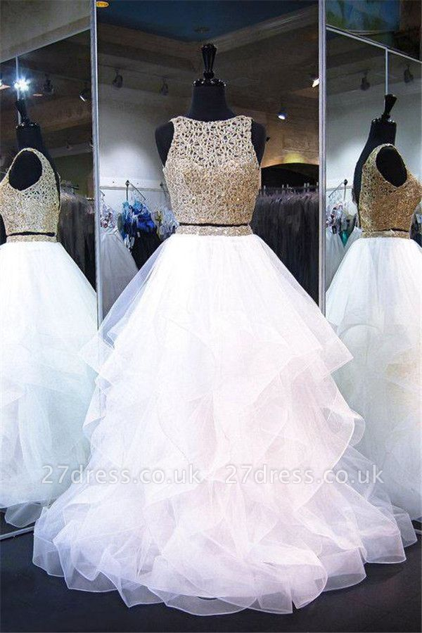 Lace Ruffle Ribbon Prom Dress UKes UK Tulle Sexy Sleeveless Evening Dress UKes UK