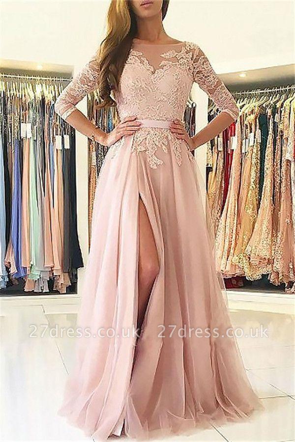 Sexy Lace Appliques Long Sleeves Prom Dress UKes UK Open Back Jewel Side Slit Evening Dress UKes UK with Sash