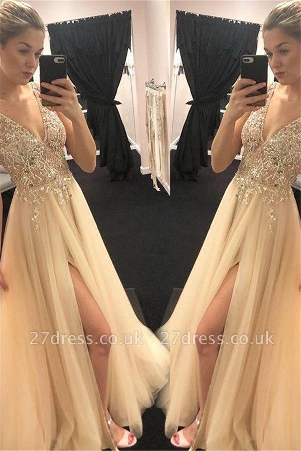 Sexy Spaghetti Strap Sequins Crystal Prom Dress UKes UK Tulle Side Slit Sleeveless Evening Dress UKes UK