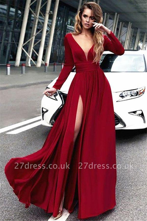 Red Long Sleeves Crystal Prom Dress UKes UK Open Back Side Slit Evening Dress UKes UK with Sash