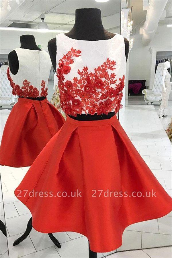 Beads Lace Appliques Jewel Homecoming Dress UKes UK Two Piece Sleeveless Short Party Dress UKes UK