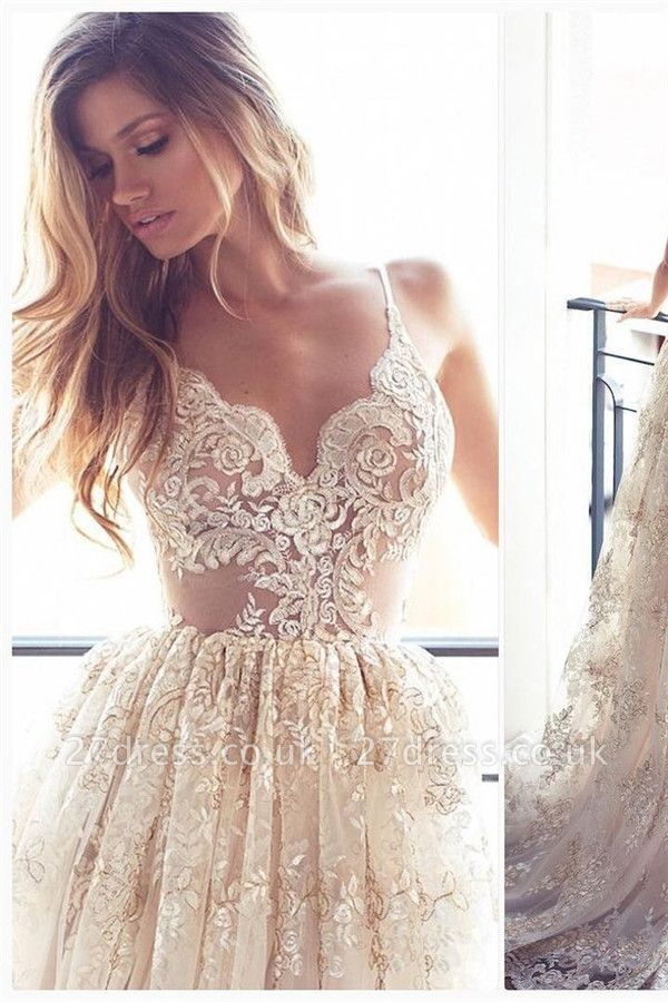 Lace Appliques Elegant V-Neck Prom Dress UKes UK Tiered Backless Sleeveless Evening Dress UKes UK
