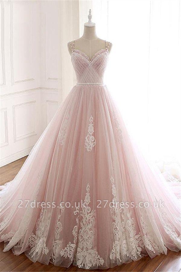 Sexy Spaghetti-Strap Flower Lace Appliques Prom Dress UKes UK Ball Gown Ruffle Crystal Sleeveless Evening Dress UKes UK