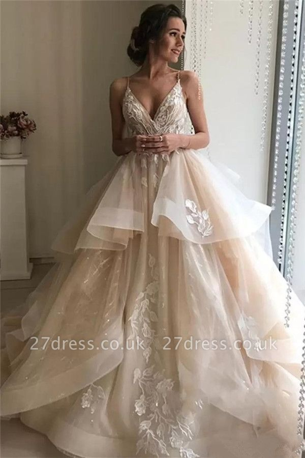 Applique TieElegant  Sheer Cheap Wedding Dresses UK Spaghetti-Strap Sleeveless Backless Floral Bridal Gowns