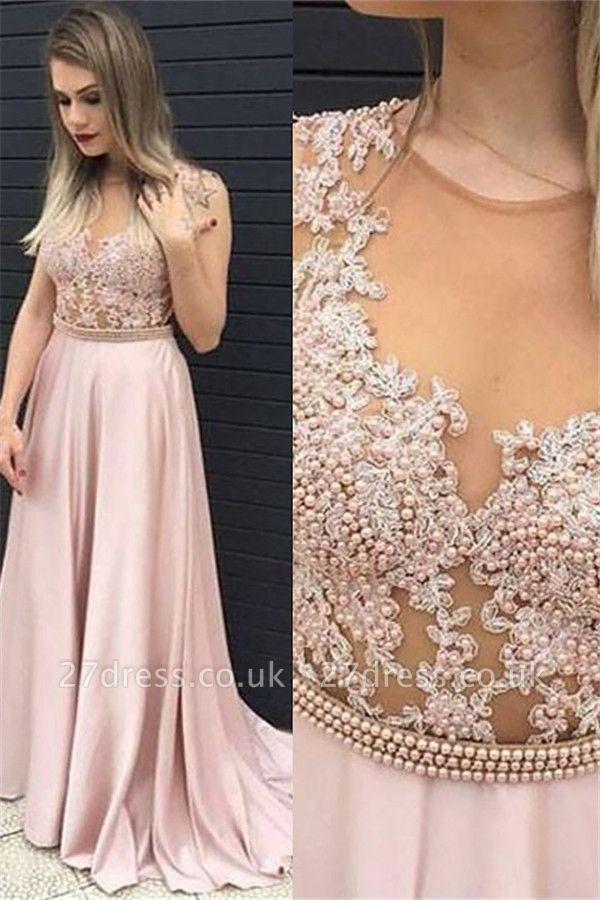 Jewel Beads Lace Appliques Prom Dress UKes UK Pink Sleeveless Tulle Evening Dress UKes UK Sexy