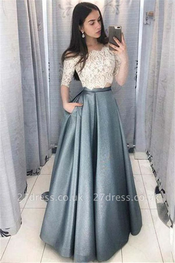 Sexy Lace Appliques Off-the-Shoulder Prom Dress UKes UK Two Piece Sleeveless Evening Dress UKes UK with Pocket