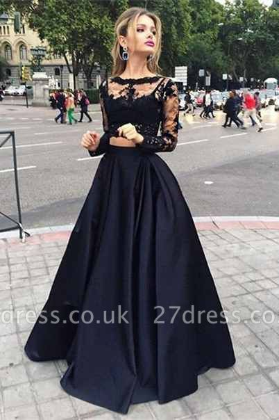 Elegant Black Lace Long Sleeve Prom Dress UK Two Pieces Long Evening Gown