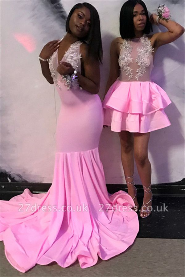 Sexy Sweet Pink Halter Sleeveless Elegant Trumpt Teens Evening Gown