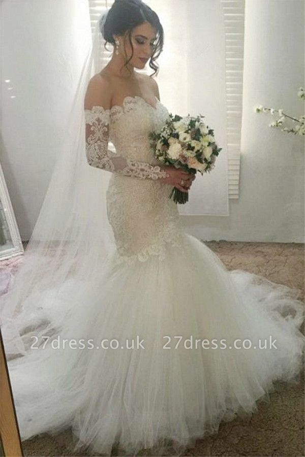 Elegant Appliques Sweetheart Wedding Dresses UK | Ribbons Sheer Longsleeves Floral Bridal Gowns