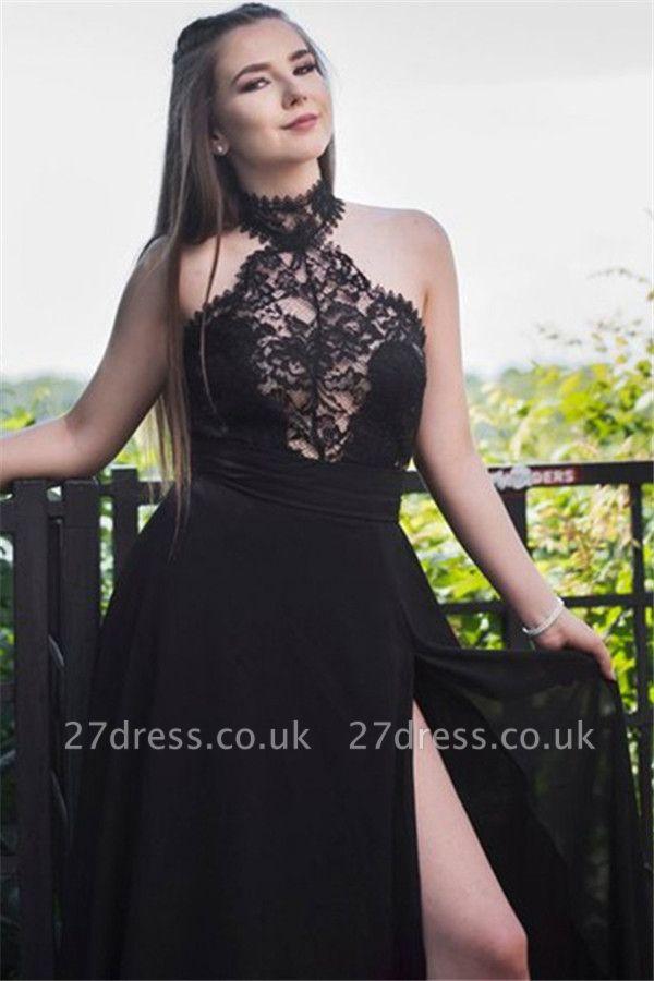 Black Lace Sleeveless Prom Dress UKes UK Tulle Side Slit Elegant Evening Dress UKes UK Sexy