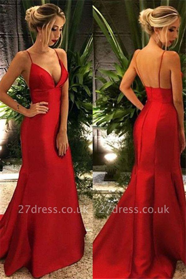 Spaghetti Ruffles Strap Prom Dress UKes UK Mermaid Open Back Sleeveless Elegant Evening Dress UKes UK