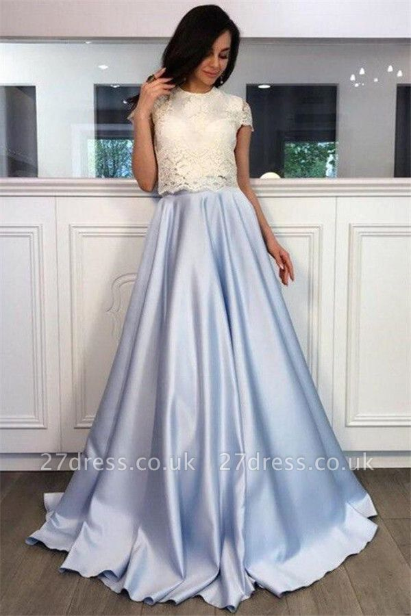 Lace Appliques Jewel Prom Dress UKes UK Two Piece Ruffles Sleeveless Evening Dress UKes UK
