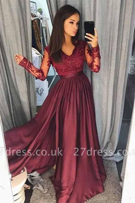 Maroon Burgundy Long Sleeve Prom Dress UK Lace With Split