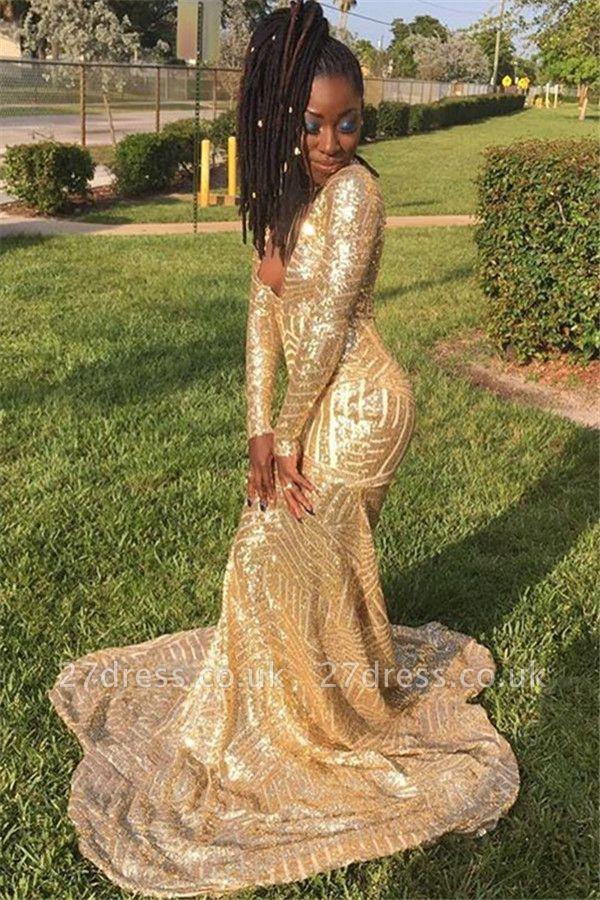 Gold Long-Sleevees Alluring V-Neck Sequins Elegant Mermaid Prom Dress UK UKes UK