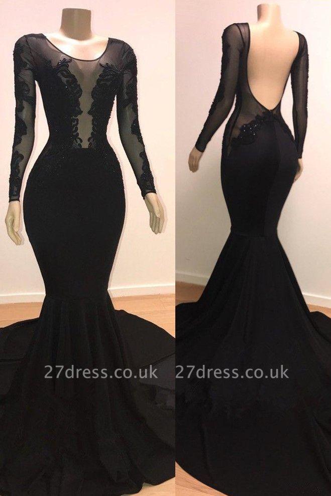 Speical Scoop with Sleeves Backless Appliques Tulle Elegant Mermaid Prom Dress UKes UK UK
