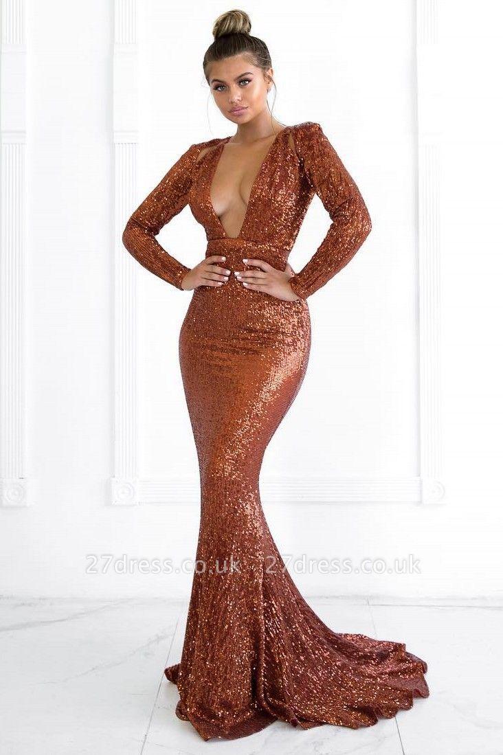 Elegant Hot Deep V-Neck Long Sleeves Elegant Mermaid Prom Dress UK UK
