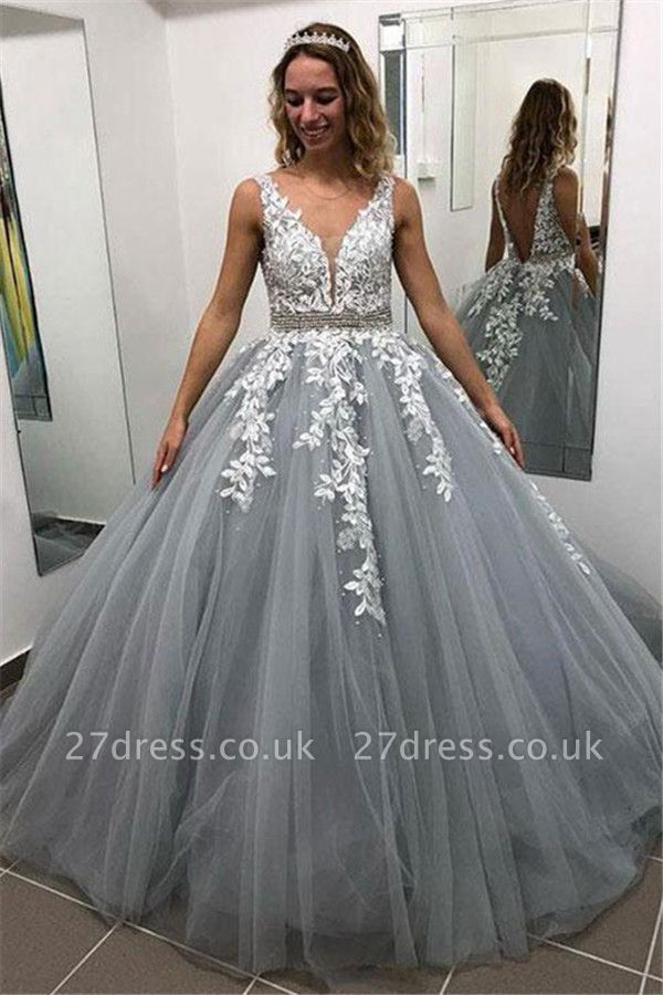 Elegant Crystal Apppliques Simple Ball Gown Prom Dresses   A-Line Sleeveless Backless Evening Dresses