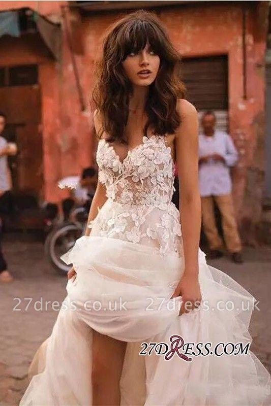 V-Neck Tulle Sleeveless Flowers Elegant Wedding Dress