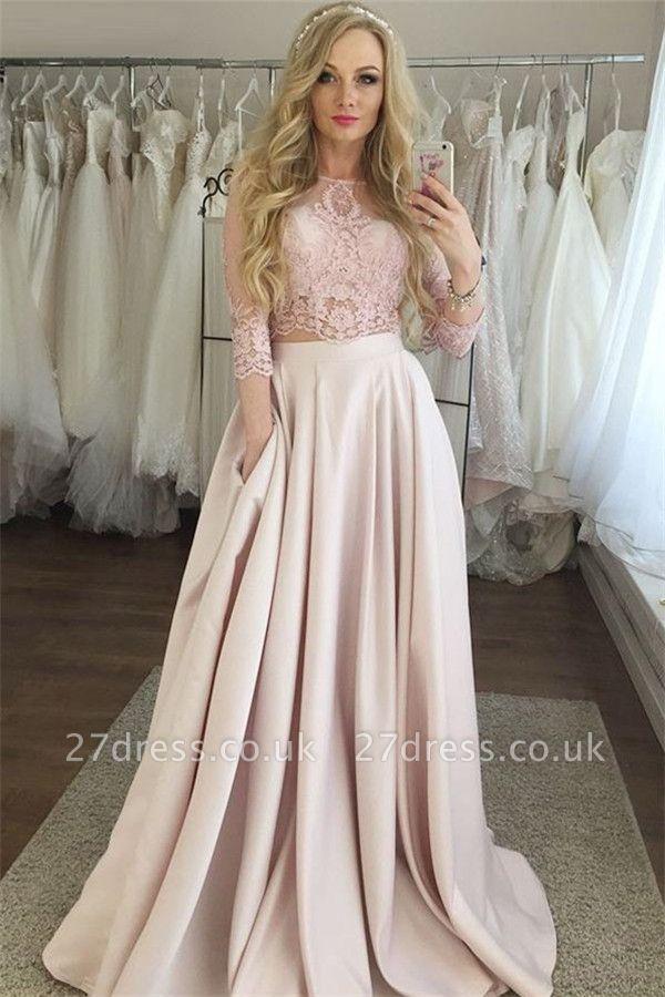 Elegant Lace Prom Longsleeves Dresses | A-Line  Evening Dresses with Pocket
